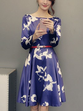 Ericdress Round Neck Print Belt Casual Dress