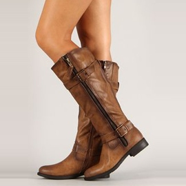 Ericdress Brown Side Zipper Knee High Boots
