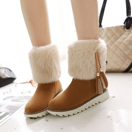 Ericdress Delicate Furry Tassels Decoration Snow Boots