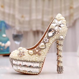 Ericdress White Pearls Stiletto Heels Wedding Shoes