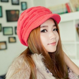 Wave Design Knitted Short Brim Hat