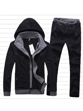 Ericdress Zip Double-Layer Design Hooded Men's Sports Suit