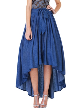 Ericdress Plain Asymmetric Pleated Expansion Bowknot Usual Skirt