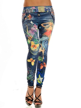 Ericdress Skinny Printed Pencil Leggings Pants