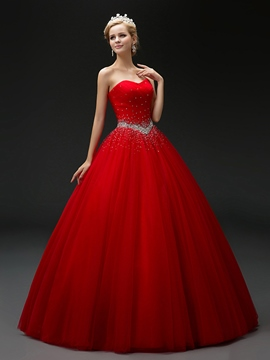 Ericdress Rhinestone Beading Pleated Sweetheart Lace-up Sleeveless Floor Length Ball Gown Dress