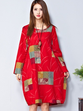 Ericdress Round Neck Print Latern Casual Dress