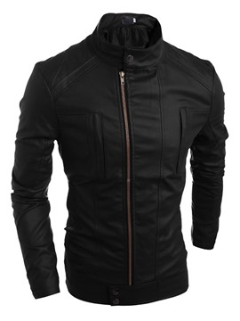Ericdress Solid Color Front Zip Turtle Neck Men's Jacket