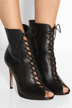 Ericdress Cool Lace up Peep Toe Heel Boots