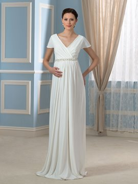 Ericdress Casual A Line Short Sleeves Maternity Wedding Dress