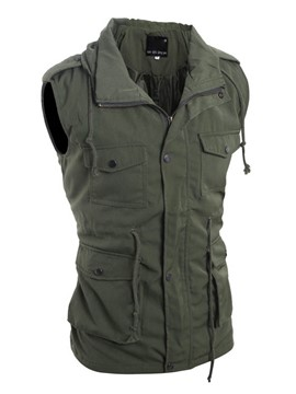 Ericdress Solid Color Zip Multi-Zip Men's Vest
