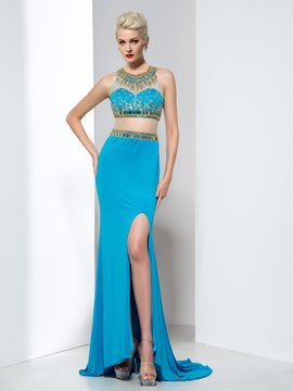 Ericdress Two-Piece Beading Split-Front Prom Dress