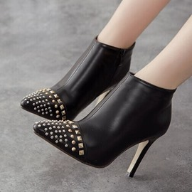 Ericdress Pointed Toe High Heel Boots with Rivets