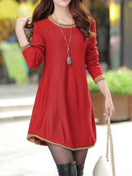 Ericdress Plain A-Line Sweater Dress