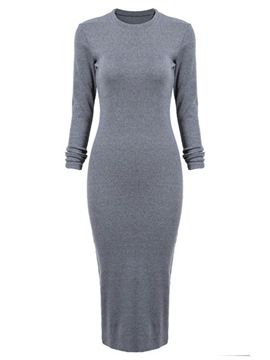 Ericdress Plain Round Neck Split Sheath Dress