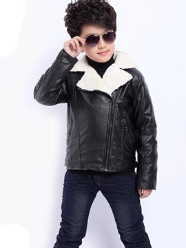 Ericdress Color Block Asymmetric PU Boys Outerwear