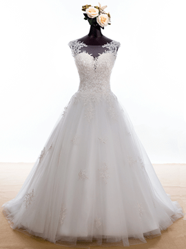 Ericdress Charming Bateau Appliques Sleeves Wedding Dress