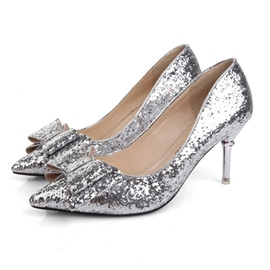 Shining Sequins Bowtie Decoration Pumps
