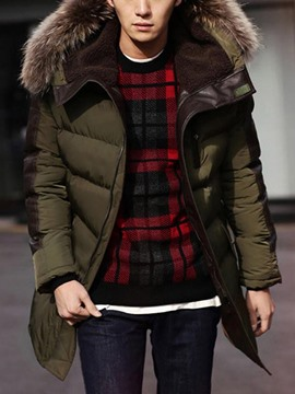 Ericdress Big Fur Collar Thicken Long Warm Winter Men's Cotton-Padded Coat