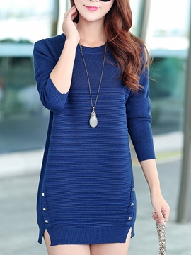 Ericdress Plain Split Sweater Dress