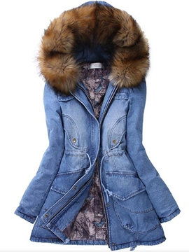 Ericdress Casual Solid Color Denim Coat