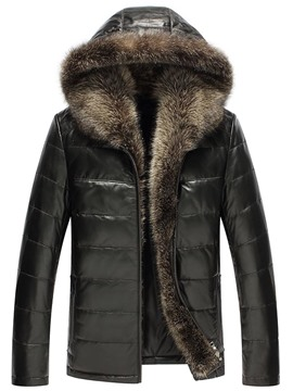 Ericdress Fur Hooded Collar PU Zip Men's Jacket