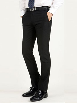 Ericdress Solid Color Slim Straight Business Men's Pants