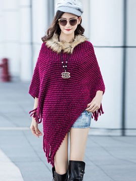 Ericdress Faux Fur Collar Knit Cape