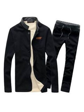 Ericdress Plain Stand Collar Thicken Men's Sports Suit
