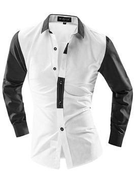 Ericdress Color Block Slim Thin Men's Shirt