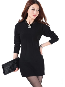 Ericdress Plain Long Sleeve Slim Sweater Dress