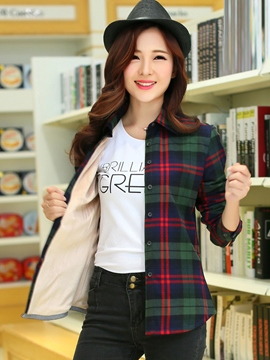 Ericdress Slim Plaid Fleece Blouses