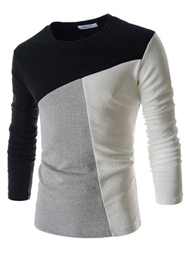 Ericdress Color Block Pullover Slimming Long Sleeve Men's T-Shirt