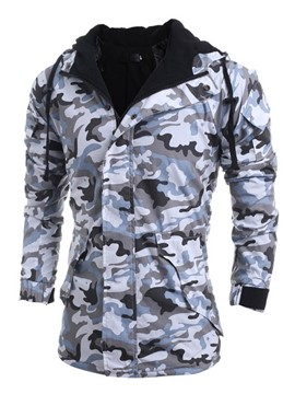 Ericdress Camouflage Flocking Warm Hooded Zip Men's Jacket