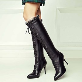 Ericdress Graceful Lace up Point Toe Knee High Boots