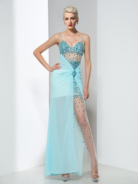 Ericdress Spaghetti Straps Beaded Split-Front Prom Dress