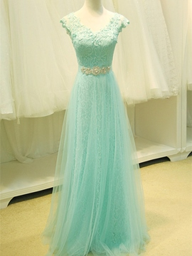Ericdress V-Neck Cap Sleeves Beading Lace Prom Dress