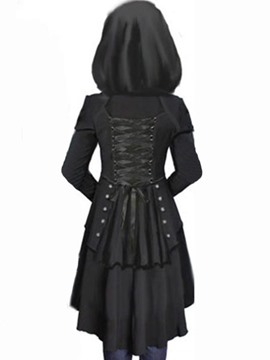 Ericdress Solid Color Lace-Up Hooded Slim Coat