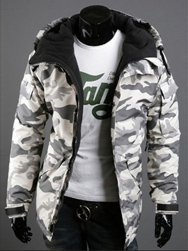 Ericdress Thicken Hooded Camouflage Warm and Windproof Men's Outdoor Cotton-Padded Coat