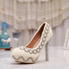 Ericdress Brilliant Pearls Stiletto Heels Wedding Shoes