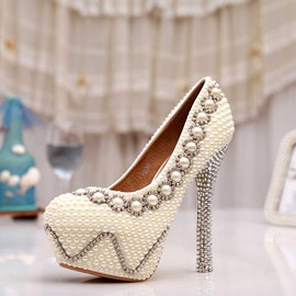 Ericdress Princess Pearls&rhinestone High Heel Wedding Shoes