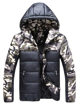 Ericdress Color Block Camouflage Printed Zip Men's Down Coat