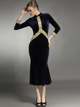 Ericdress Stand Collar Patchwork Mermaid Sheath Dress