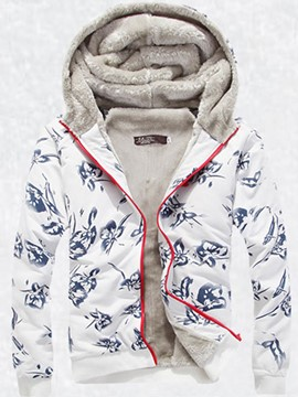 Ericdress Thicken Flocking Warm Printed Zip Men's Hoodie