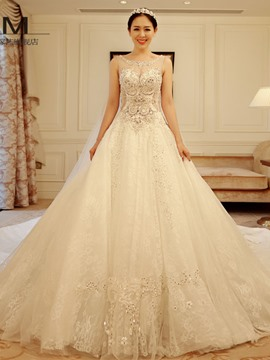 Ericdress Luxury Scoop Appliques Beadings Cathedral Tarin Wedding Dress