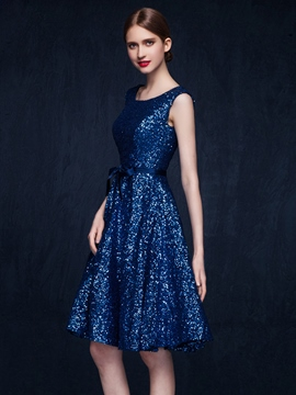 Ericdress Sequins Ribbons Bowknot Round Neck Sleeveless Zipper-up A-line Knee Length Homecoming Dress