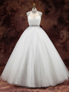 Ericdress Gorgeous Halter Beading Ball Gown Wedding Dress