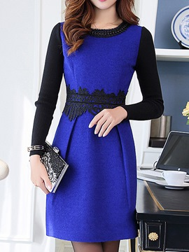 Ericdress Knit Patchwork Bead Casual Dress