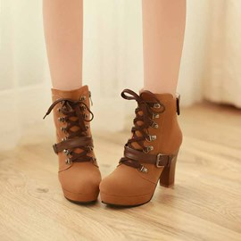 Ericdress Lace up Chunky Heel Boots with Buckles