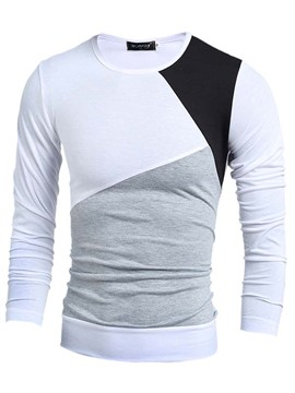 Ericdress Color Block Slimming Pullover Long Sleeve Men's T-Shirt