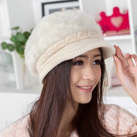 Knitting Brim Plush Hat
